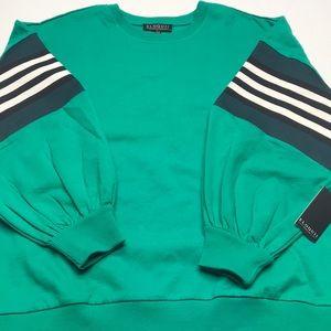 🆕 ELOQUII Womens 14/16 Green Crew Neck Sweatshirt